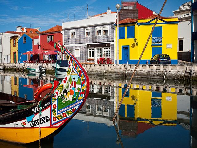 Colourful moliceiros on the Aveiro Ria